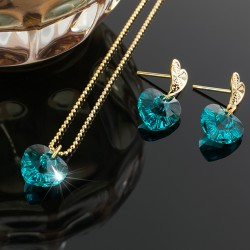 Collar Corazon Swarovski Azul Turquesa