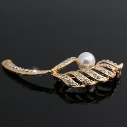 Broche Prendedor Hoja Cristales Y Perla