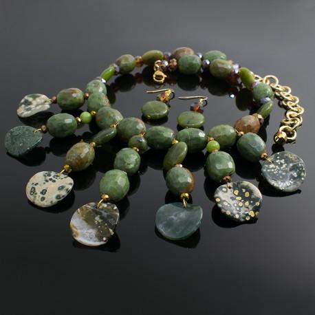 Collar Jade y Agata Verde