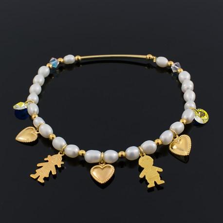 Pulsera Pareja Corazones Perlas Cultivadas