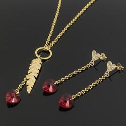 Juego Collar Cristal Swarovski Rojo Pluma