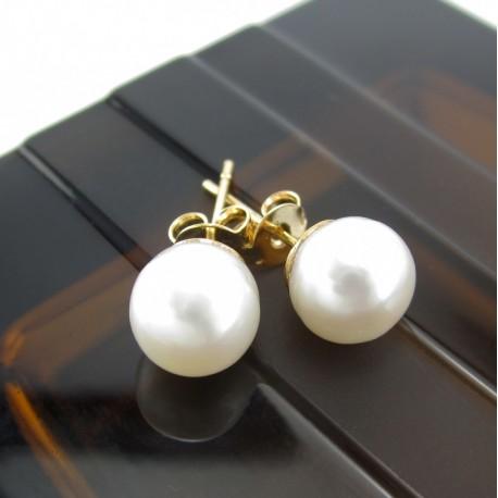 Aretes Perlas Cultivadas Chapado En Oro