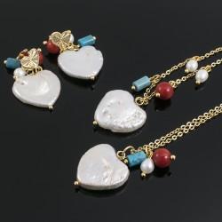 Collar Corazón Perla Cultivada