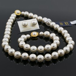 Collar Aretes Pulsera Perlas Mallorca 12 Mm