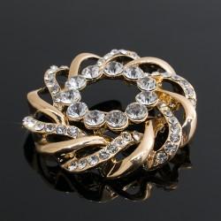 Broche Prendedor Dorado Con Cristales