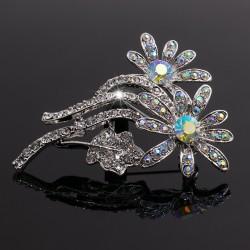 Broche Prendedor Color Plata Flor Cristal