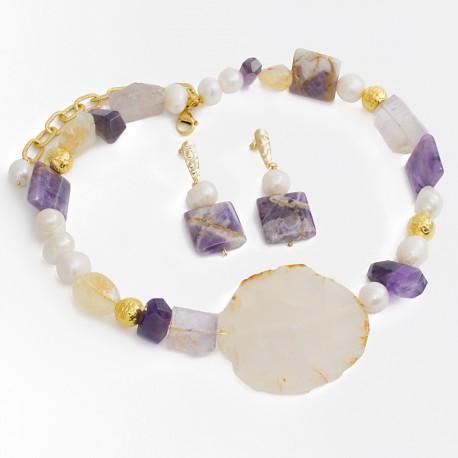 Maxi Collar Perlas Cultivadas Cuarzo Amatista Natural