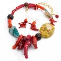 Maxi Collar Agata Y Coral Piedras Naturales Baño Oro