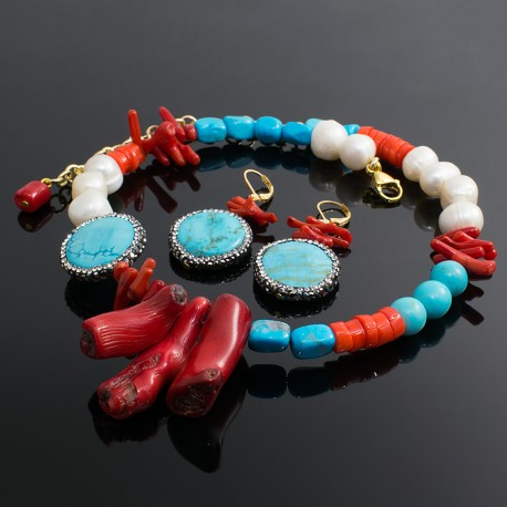 Collar Turquesa Perlas Cultivadas
