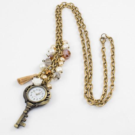 414a5ea5558f Collares Reloj Llave Perlas Cristal Oro Antiguo - Bisuel