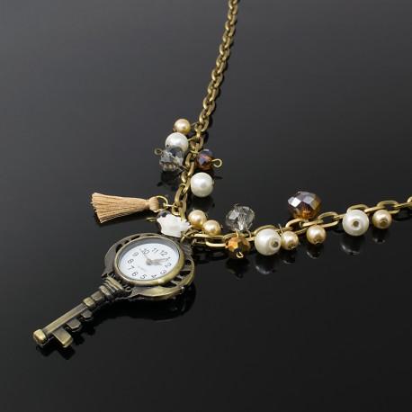 Collares Reloj Llave Perlas Cristal Oro Antiguo