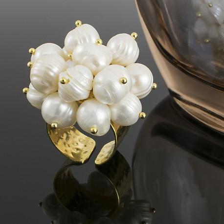 Anillo Perlas Cultivadas Chapado en Oro