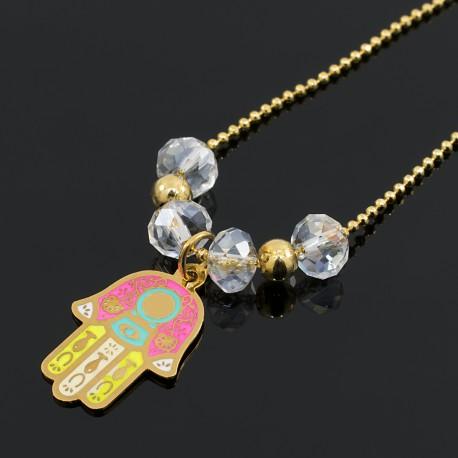 Collar Cadena Oro GoldFilled Mano Fatima Hamsa