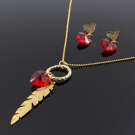 154503add068 Juego Collar y Aretes Swarovski Rojo Corazon - Bisuel