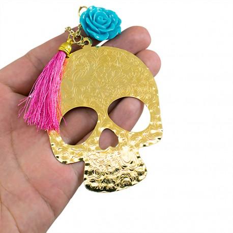 Collar Catrina Mexicana Catrina Bronce Baño Oro 24 K