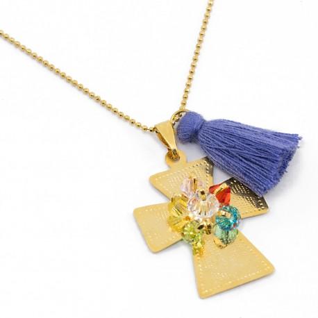 Collar Cruz Dorada Cadena Oro Goldfilled