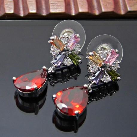 Aretes Zirconia Gotas Rojas