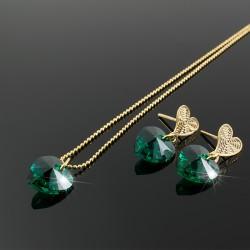 Collar Aretes Corazon Swarovski Esmeralda