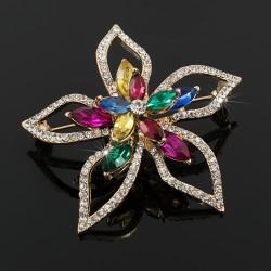 Broche Prendedor Flor Cristales Brillantes