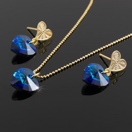 Juego Collar y Aretes Corazon Swarovski Azul