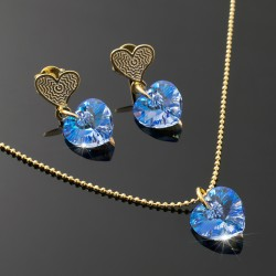 Collar Corazon Swarovski Azul Sapphire
