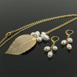 Juego Collar Perlas Cultivadas Hoja Baño Oro